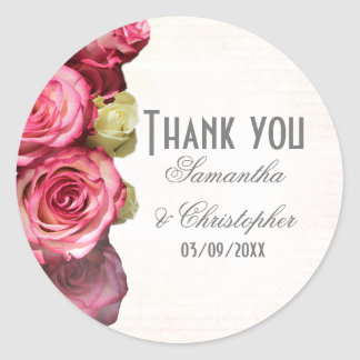 Pink rose floral wedding thank you classic round sticker