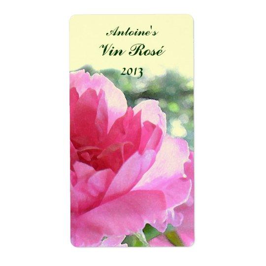 Pink Rose Floral Wine Label