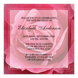 Pink Rose Flower 80th Birthday Party 13 Cm X 13 Cm Square Invitation Card