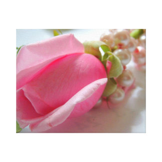 Pink rose flower bud with pearl necklace gallery wrapped canvas