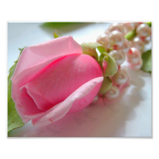 Pink rose flower bud with pearl necklace photo art