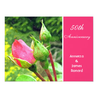 pink rose flower buds anniversary invitation personalized announcements