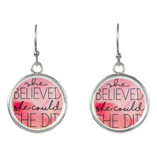 Pink Rose Flower Inspirational Quote Earrings