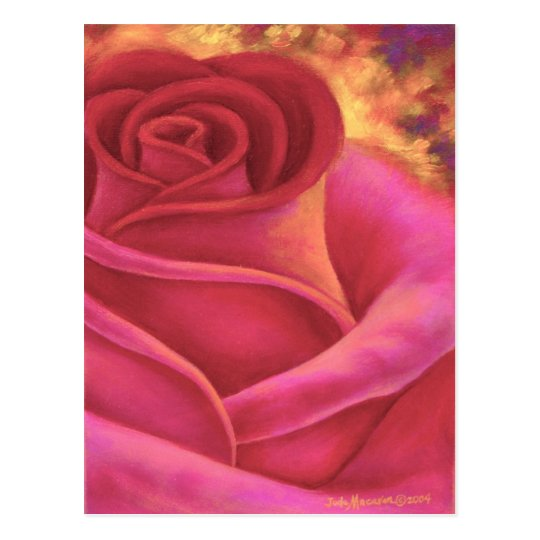 Pink Rose Flower Painting Art - Multi Postcard