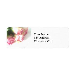 Pink rose flower return address labels