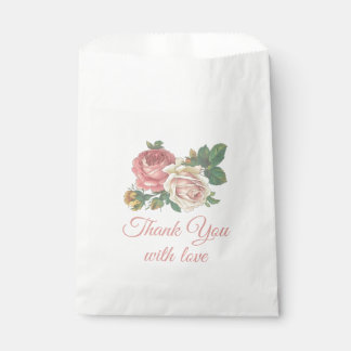 Pink Rose Flower Thank You Floral Wedding, Party Favour Bag