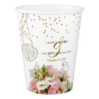 Pink Rose Flower Wedding Paper Cup