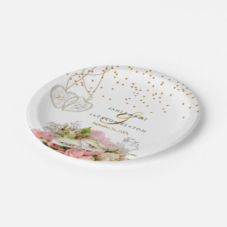 Pink Rose Flower Wedding Paper Plate