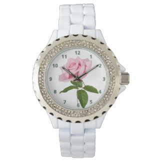 Pink Rose Flower with Dew Drops Customizable Watch