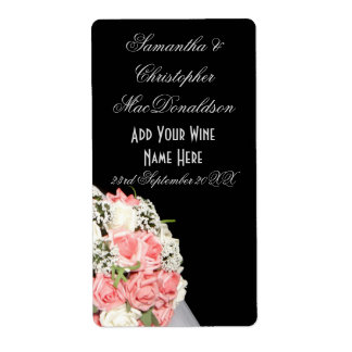 Pink rose flowers floral wedding wine bottle shipping label