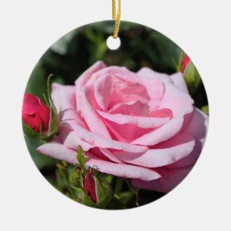 pink rose flowers happy birthday. love, girlfriend round ceramic decoration