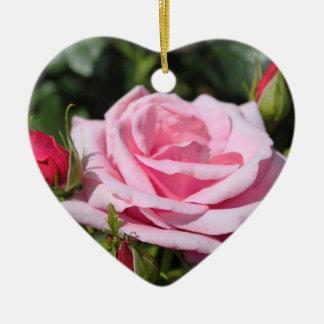 pink rose flowers happy birthday. love, girlfriend ceramic heart decoration