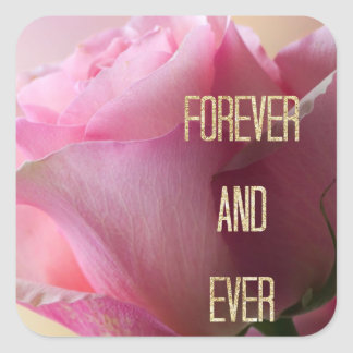 Pink Rose Forever Wedding Envelope Seal Stickers