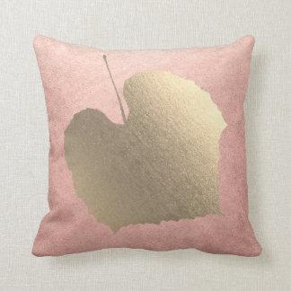 Pink Rose Foxier Blush Golden Leaf Pastel Throw Pillow