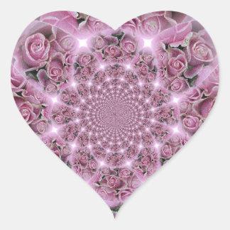 Pink Rose Fractals Heart Sticker