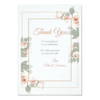 Pink Rose Frame Thank You Card