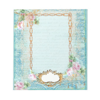 Pink Rose French Script and Lace Notepad