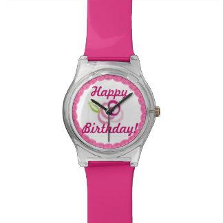 Pink Rose Frosting Happy Birthday Cake Watch