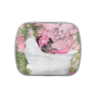 Pink Rose Garden Baby Girl Shower Jelly Belly Candy Tins