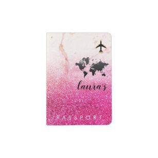 Pink Rose Glitter Watercolor Girly World Map Passport Holder
