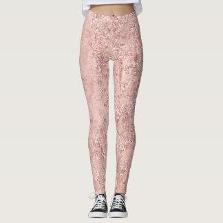 Pink Rose Gold Blush Glitter Shiny Glass Metallic Leggings