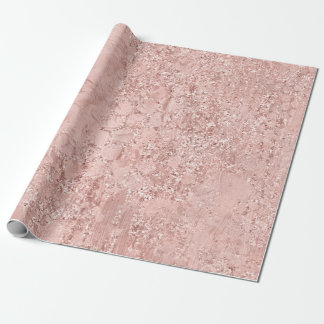 Pink Rose Gold Blush Glitter Shiny Glass Metallic Wrapping Paper