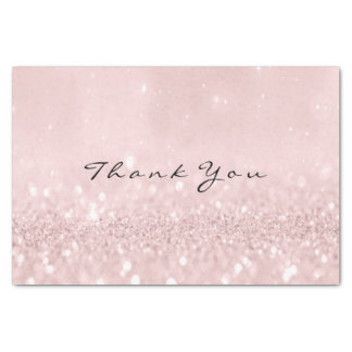 Pink Rose Gold Blush Glitter Thank You Name Tissue Paper