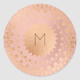 Pink Rose Gold Blush Metallic Mandala Monogram Classic Round Sticker