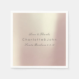 Pink Rose Gold Blush Metallic Minimal Party Event Paper Napkin