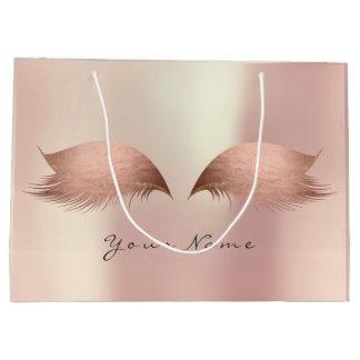 Pink Rose Gold Blush Pearly Lashes Eye Makeup Large Gift Bag