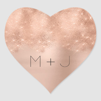 Pink Rose Gold Blush Wedding  Monogram Heart Heart Sticker