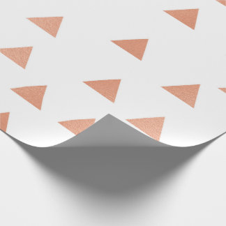 Pink Rose Gold Blush White Geometry Triangles VIP Wrapping Paper