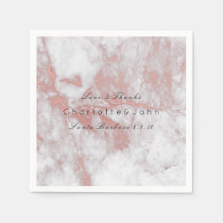 Pink Rose Gold Blush White Gray Marble Party Paper Napkin