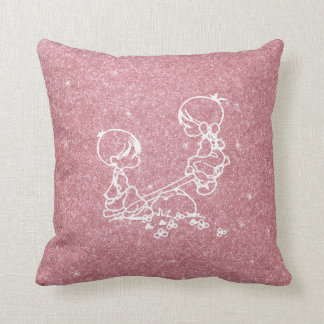 Pink Rose Gold Boy Girl Seesaw Doodles Glitter Throw Pillow