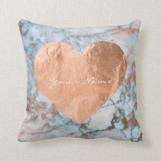 Pink Rose Gold Brush Heart Blue Ocean Marble Cushion