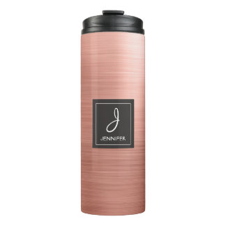 Pink Rose Gold Brushed Metal Print Monogram Thermal Tumbler
