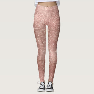 Pink Rose Gold Faux Brush Metallic Diamond Sparkly Leggings