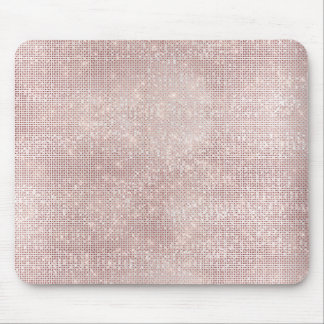 Pink Rose Gold Faux Diamond Metallic Sparkly Vip Mouse Pad