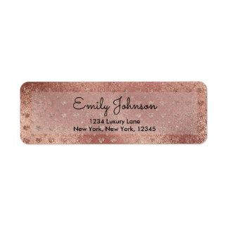 Pink Rose Gold Faux Glitter Hearts Address Label
