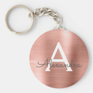 Pink Rose Gold Faux Stainless Steel Monogram Key Ring
