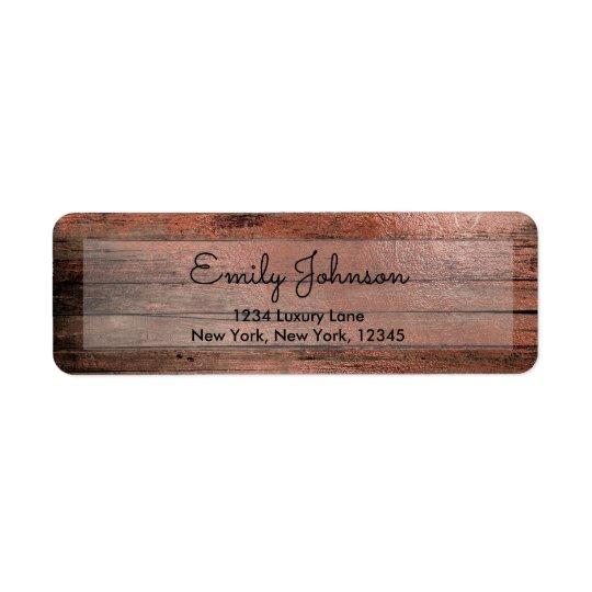 Pink Rose Gold Foil and Rustic Wood Return Address Label