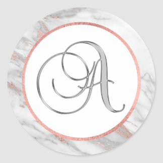 PINK ROSE Gold FOIL Marble Monogram LETTER 'A' Classic Round Sticker