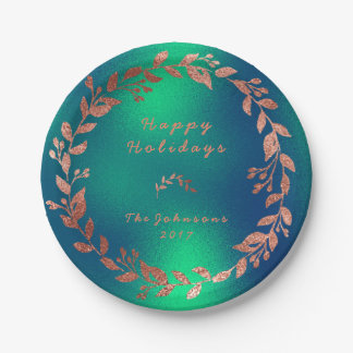 Pink Rose Gold Frozen Emerald Green Tropical Paper Plate