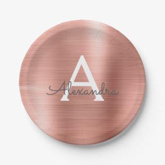 Pink Rose Gold Girly Metallic Monogram Birthday Paper Plate