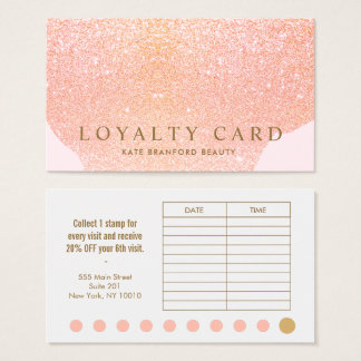 Pink Rose Gold Glitter 10 Punch Salon Loyalty Card