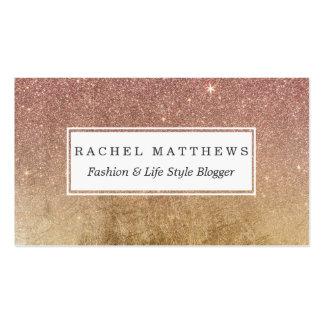 Pink Rose Gold Glitter and Gold Foil Mesh Pack Of Standard Business Cards