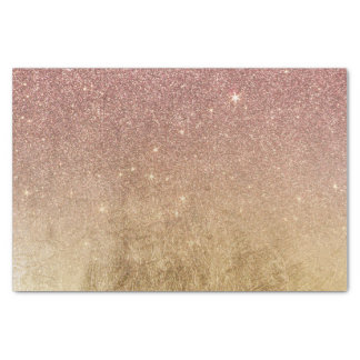 Pink Rose Gold Glitter and Gold Foil Mesh Tissue Paper