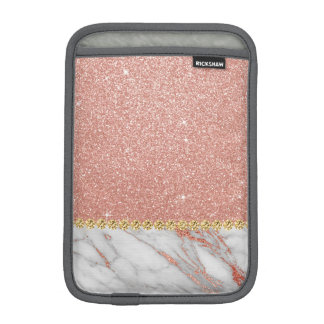 Pink Rose Gold Glitter and Sparkle Marble iPad Mini Sleeve