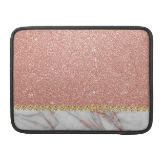 Pink Rose Gold Glitter and Sparkle Marble Sleeve For MacBook Pro