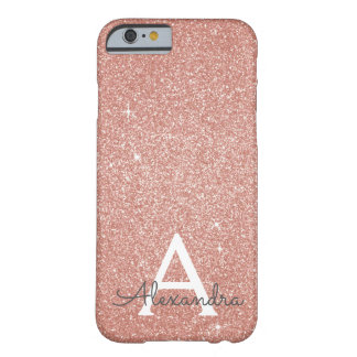 Pink Rose Gold Glitter and Sparkle Monogram Barely There iPhone 6 Case